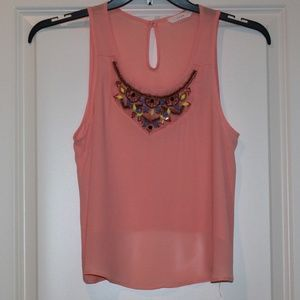 LUSH Coral and Beaded Aztec Design Top